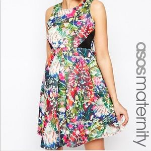 ASOS Maternity Scuba Skater Dress in Bright Floral